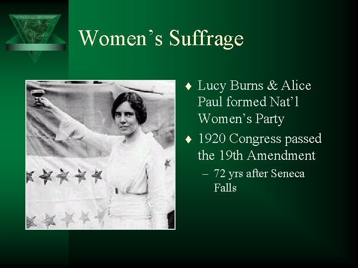 Women's Suffrage t t Lucy Burns & Alice Paul formed Nat'l Women's Party 1920