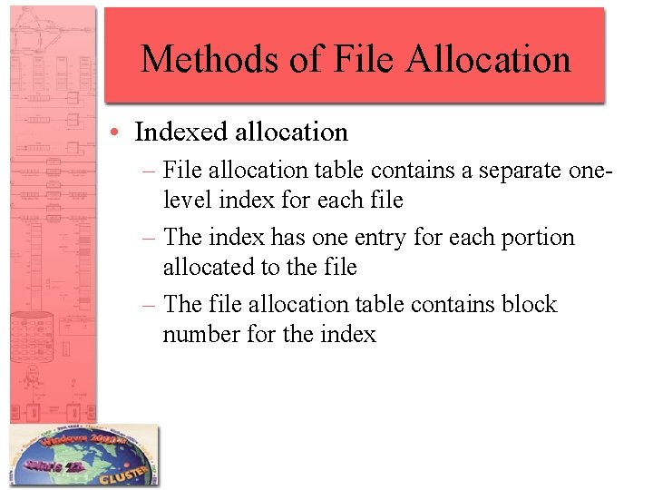 Methods of File Allocation • Indexed allocation – File allocation table contains a separate