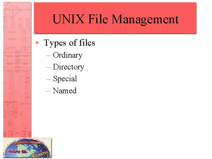 UNIX File Management • Types of files – Ordinary – Directory – Special –