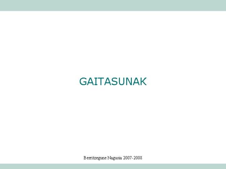 GAITASUNAK Berritzegune Nagusia 2007 -2008