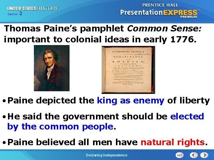 Chapter Section 2 25 Section 1 Thomas Paine's pamphlet Common Sense: important to colonial