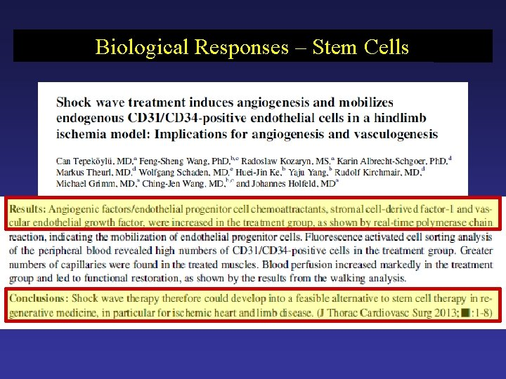 Biological Responses – Stem Cells