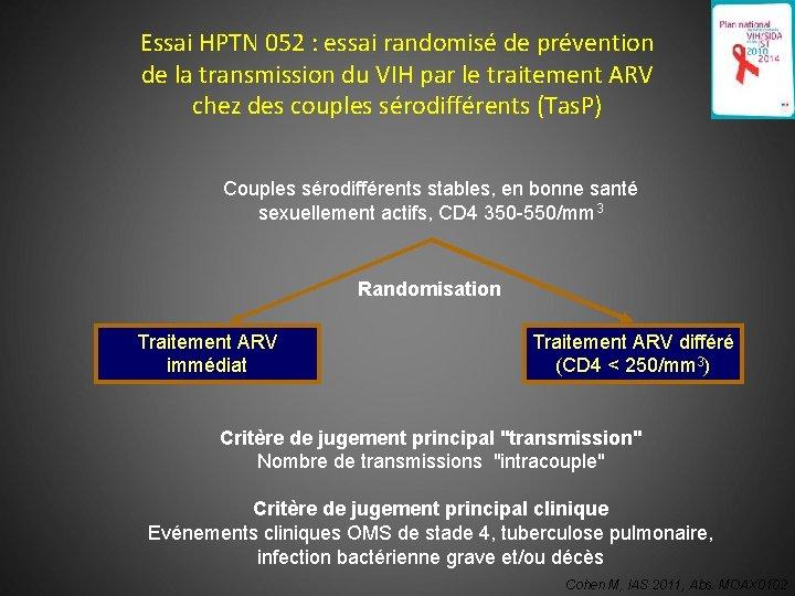 176 Essai HPTN 052 : essai randomisé de prévention de la transmission du VIH