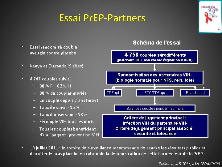 185 Essai Pr. EP-Partners • Schéma de l'essai Essai randomisé double aveugle contre placebo