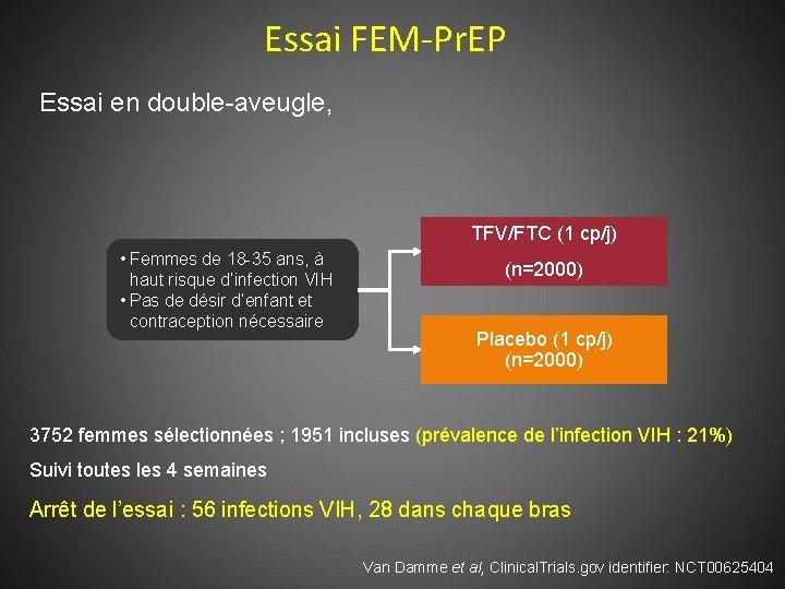 Essai FEM-Pr. EP Essai en double-aveugle, TFV/FTC (1 cp/j) • Femmes de 18 -35