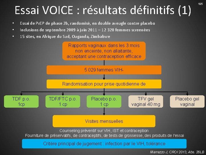 Essai VOICE : résultats définitifs (1) • • • 195 Essai de Pr. EP