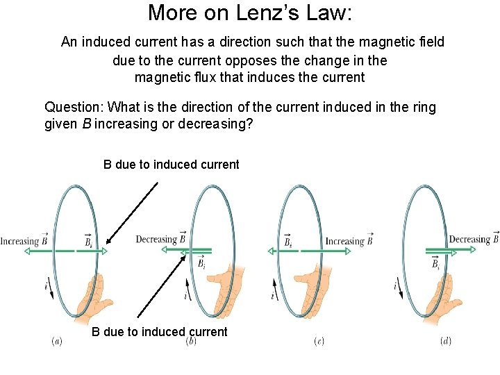 More on Lenz's Law: An induced current has a direction such that the magnetic