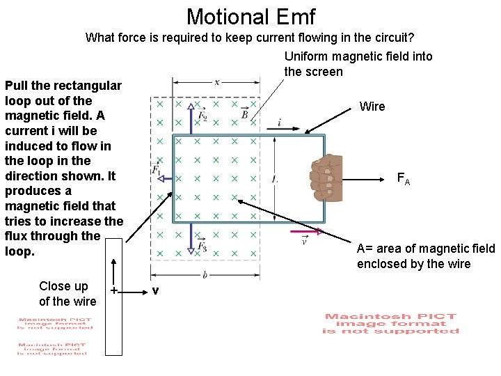 Motional Emf What force is required to keep current flowing in the circuit? Uniform