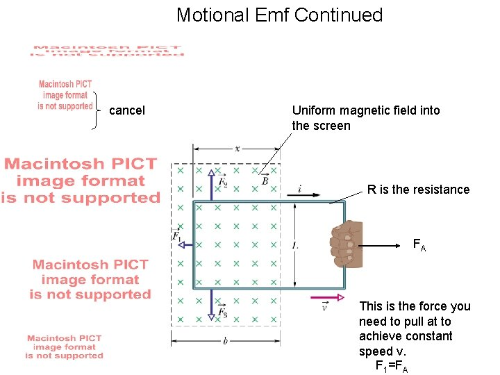 Motional Emf Continued cancel Uniform magnetic field into the screen R is the resistance