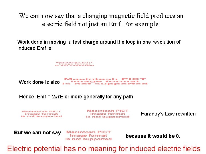 We can now say that a changing magnetic field produces an electric field not