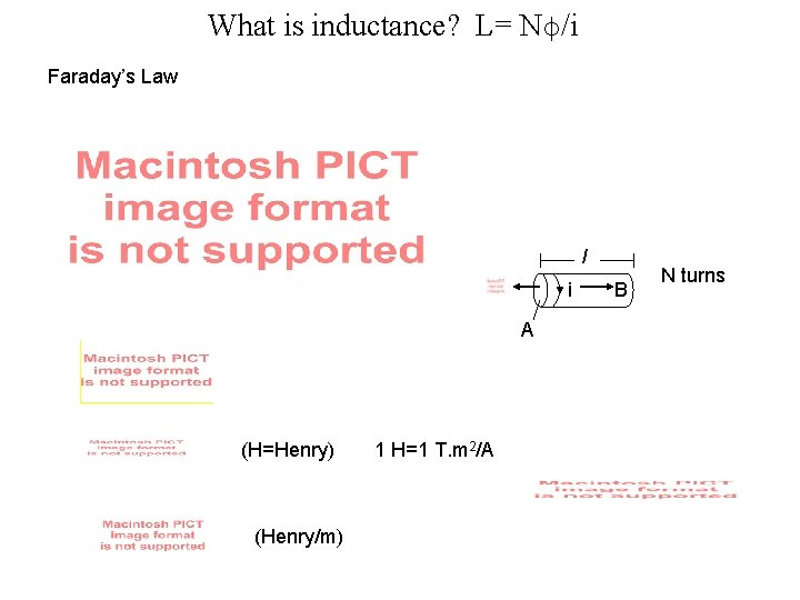 What is inductance? L= Nϕ/i Faraday's Law l i A (H=Henry) (Henry/m) 1 H=1