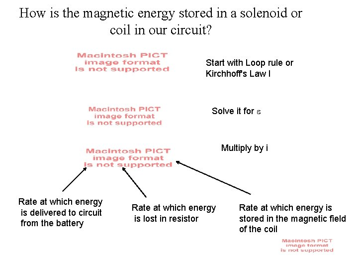 How is the magnetic energy stored in a solenoid or coil in our circuit?