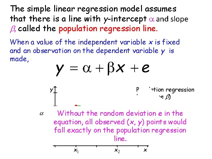 The simple linear regression model assumes that there is a line with y-intercept a
