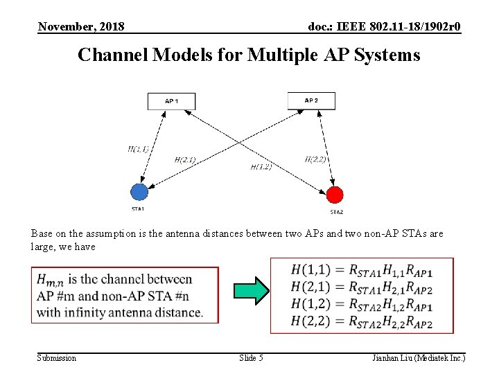 November, 2018 doc. : IEEE 802. 11 -18/1902 r 0 Channel Models for Multiple