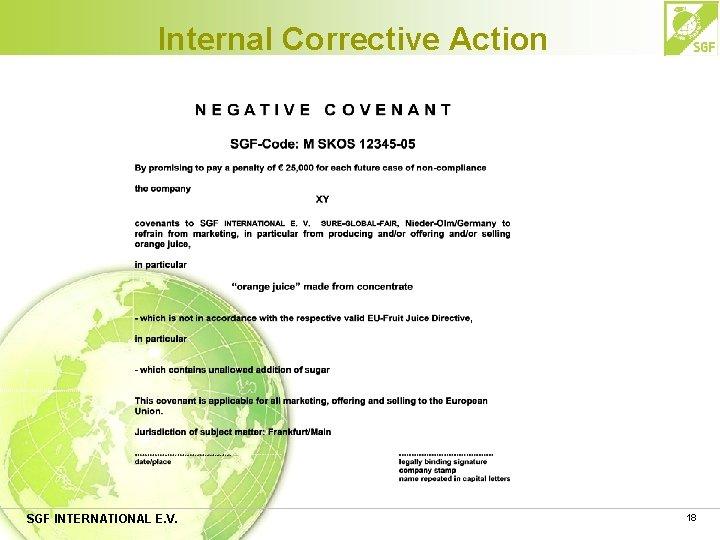 Internal Corrective Action SGF INTERNATIONAL E. V. 18