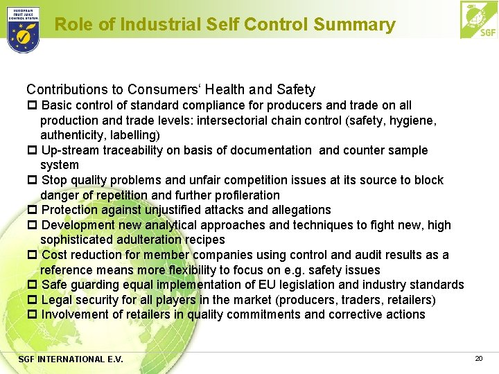 Role of Industrial Self Control Summary Contributions to Consumers' Health and Safety p Basic
