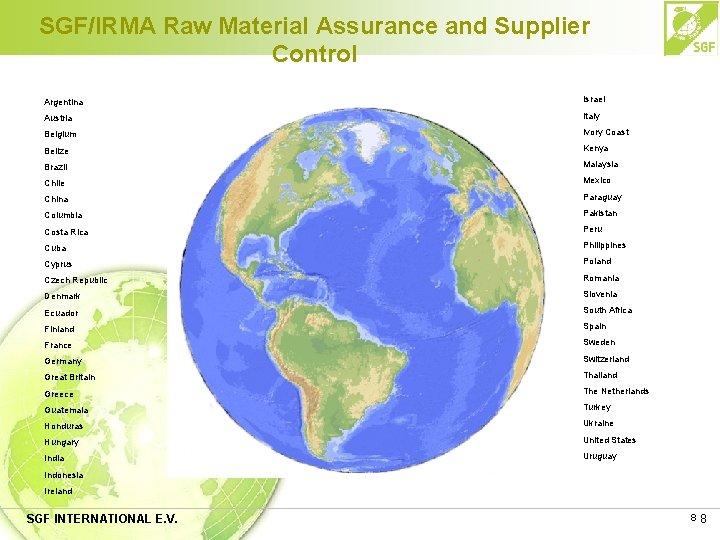 SGF/IRMA Raw Material Assurance and Supplier Control Argentina Israel Austria Italy Belgium Ivory Coast