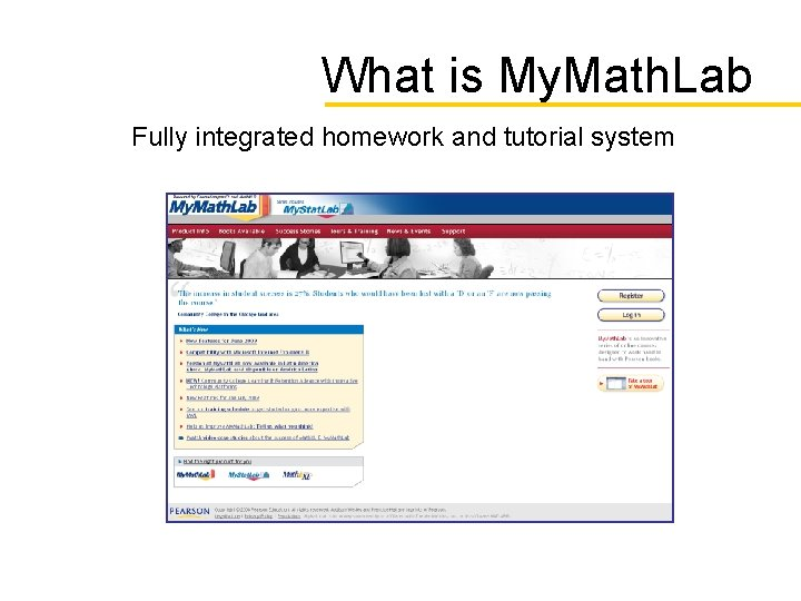 What is My. Math. Lab Fully integrated homework and tutorial system