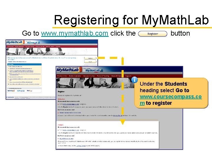 Registering for My. Math. Lab Go to www. mymathlab. com click the button Under