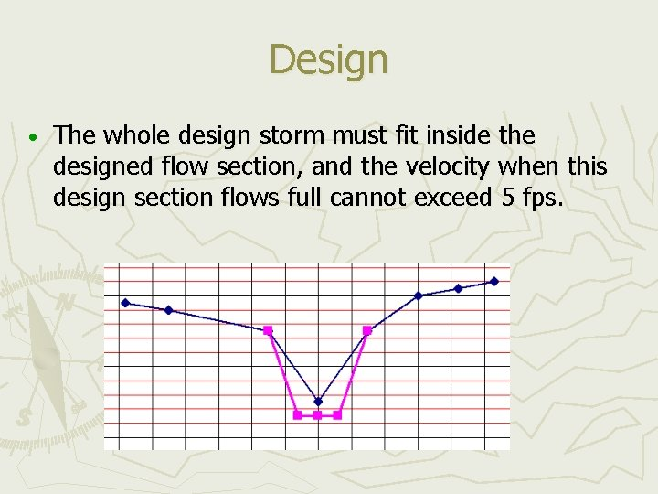 Design • The whole design storm must fit inside the designed flow section, and