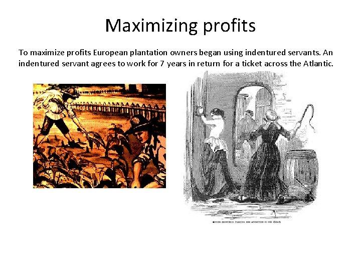 Maximizing profits To maximize profits European plantation owners began using indentured servants. An indentured