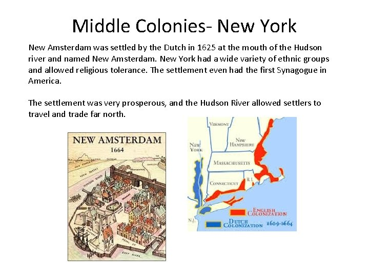 Middle Colonies- New York New Amsterdam was settled by the Dutch in 1625 at