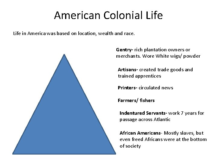 American Colonial Life in America was based on location, wealth and race. Gentry- rich