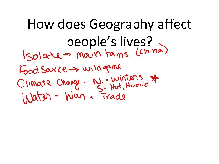 How does Geography affect people's lives?