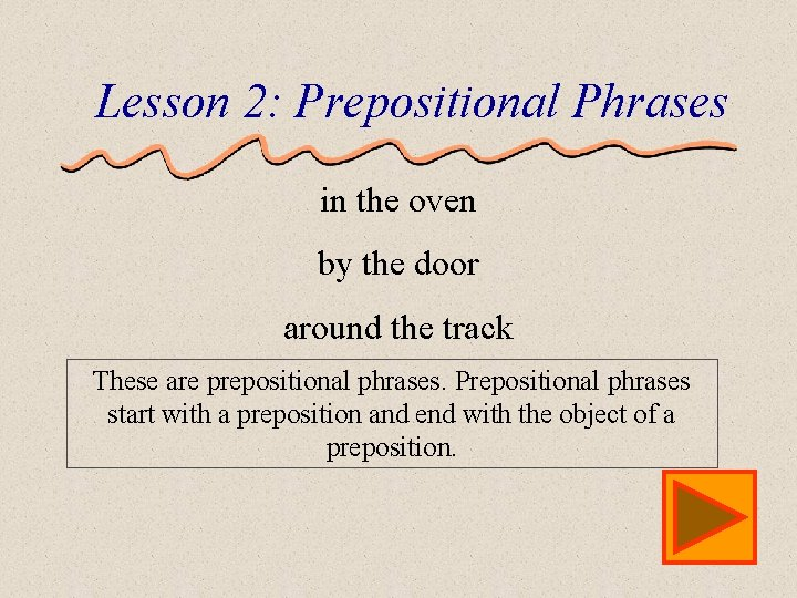 Lesson 2: Prepositional Phrases in the oven by the door around the track These