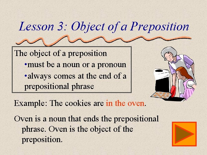 Lesson 3: Object of a Preposition The object of a preposition • must be