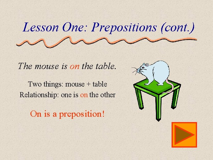 Lesson One: Prepositions (cont. ) The mouse is on the table. Two things: mouse