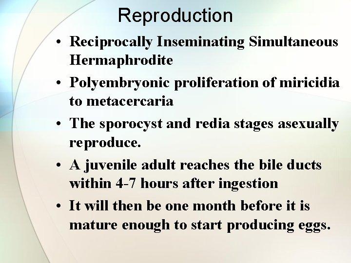 Reproduction • Reciprocally Inseminating Simultaneous Hermaphrodite • Polyembryonic proliferation of miricidia to metacercaria •