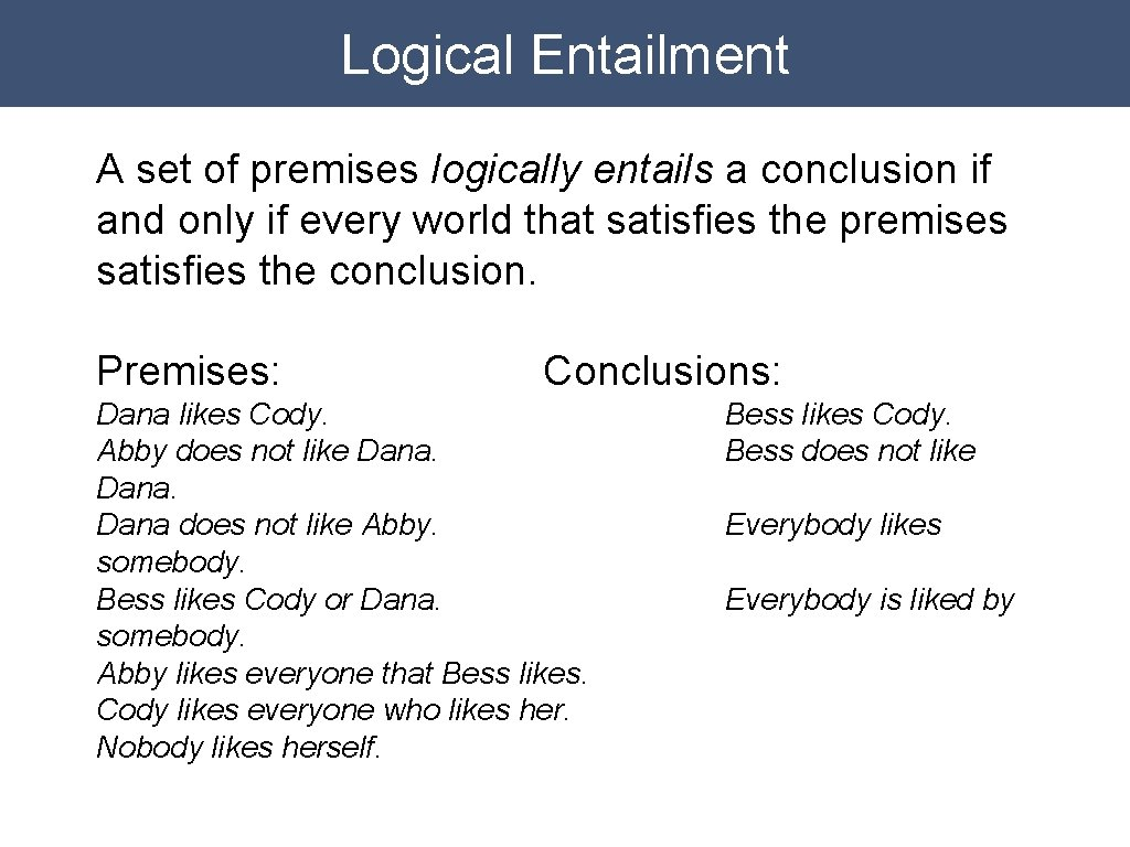 Logical Entailment A set of premises logically entails a conclusion if and only if