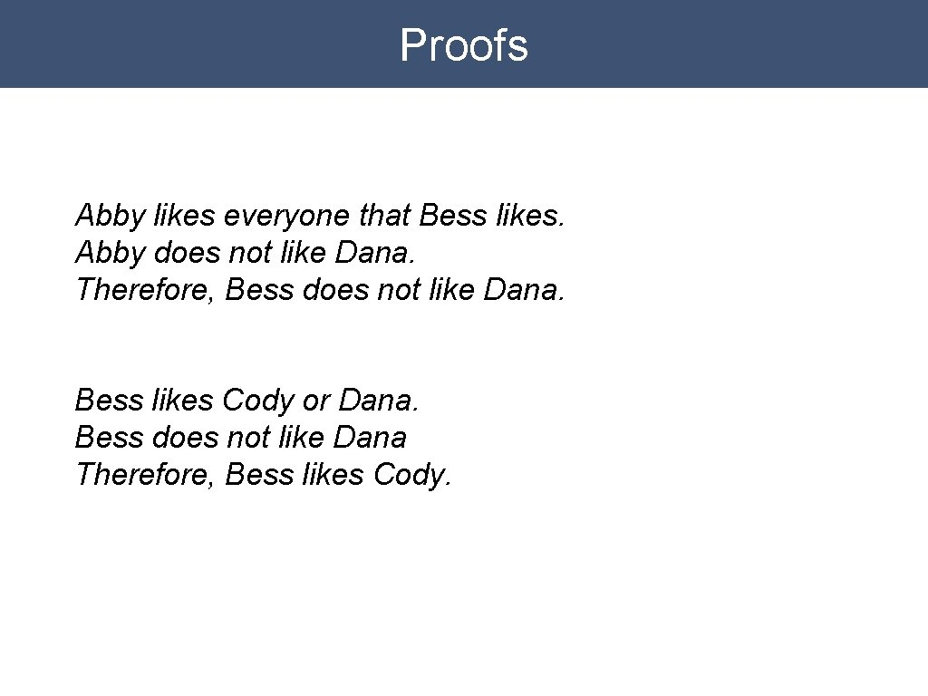 Proofs Abby likes everyone that Bess likes. Abby does not like Dana. Therefore, Bess