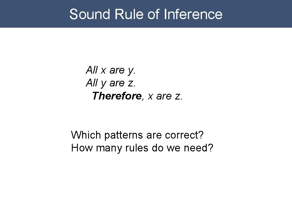 Sound Rule of Inference All x are y. All y are z. Therefore, x