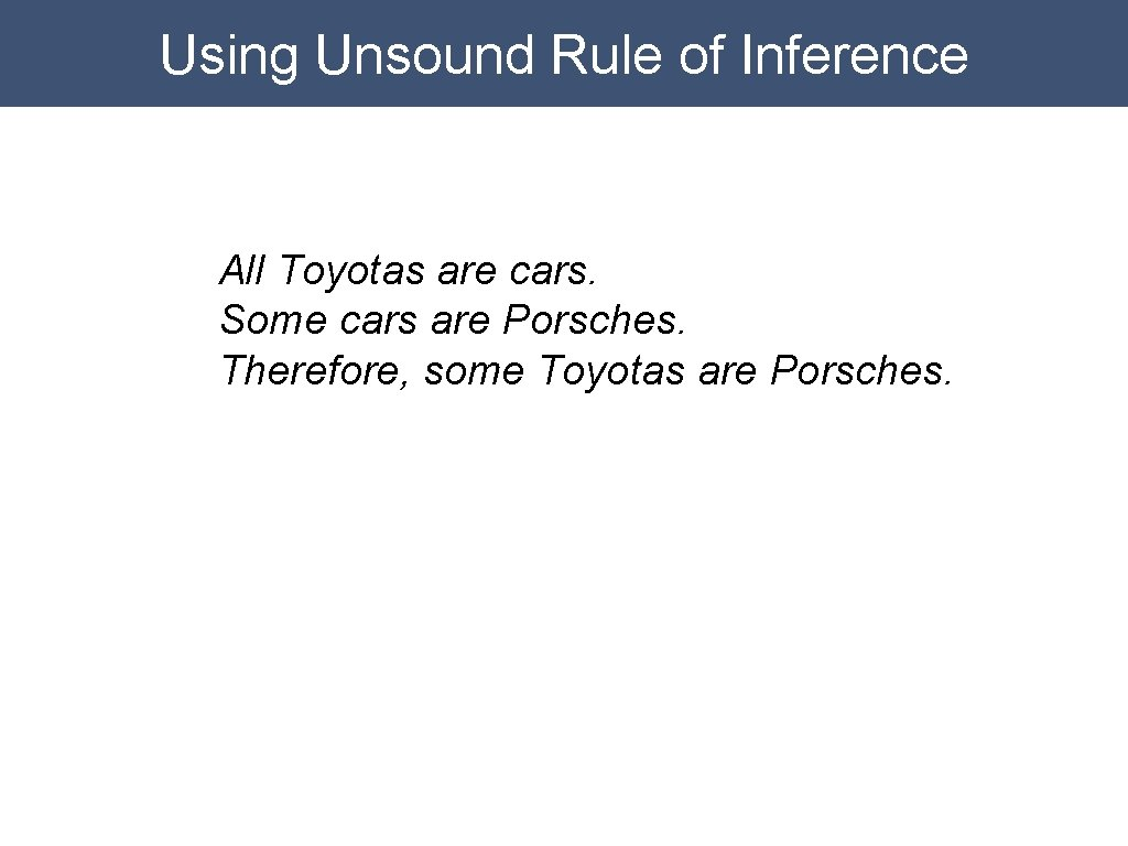 Using Unsound Rule of Inference All Toyotas are cars. Some cars are Porsches. Therefore,