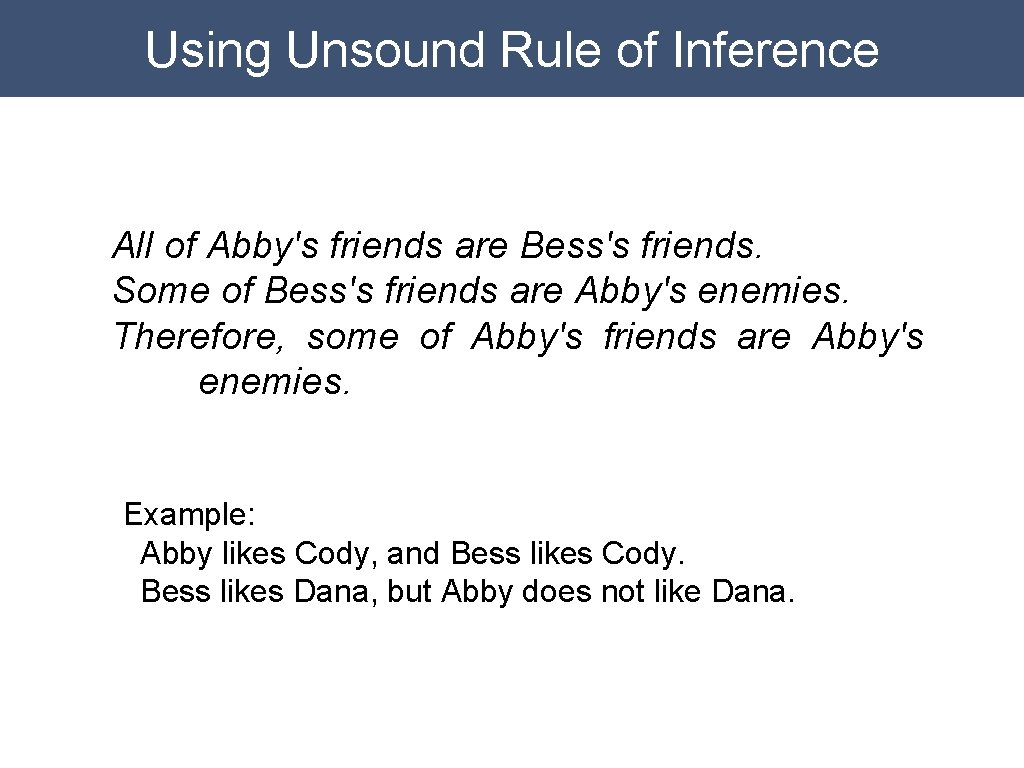 Using Unsound Rule of Inference All of Abby's friends are Bess's friends. Some of