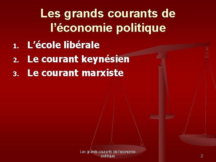 Les grands courants de l'économie politique 1. 2. 3. L'école libérale Le courant keynésien