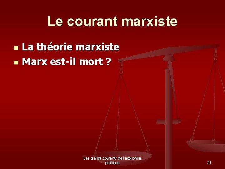 Le courant marxiste n n La théorie marxiste Marx est-il mort ? Les grands