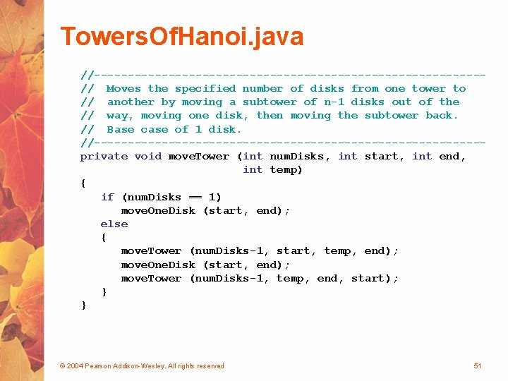 Towers. Of. Hanoi. java //-----------------------------// Moves the specified number of disks from one tower