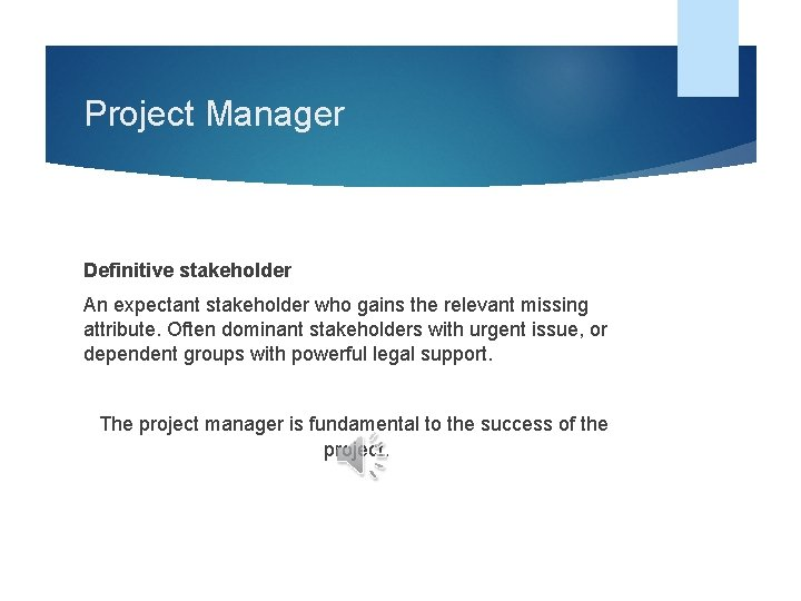 Project Manager Definitive stakeholder An expectant stakeholder who gains the relevant missing attribute. Often