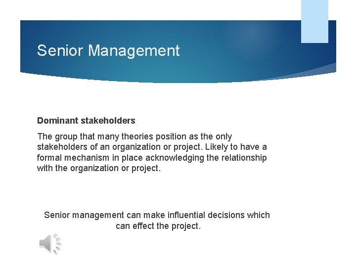 Senior Management Dominant stakeholders The group that many theories position as the only stakeholders