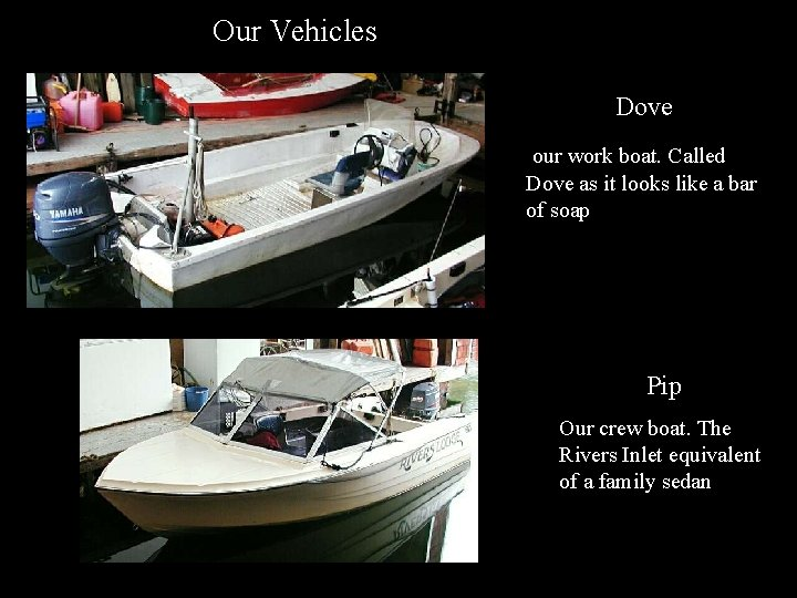 Our Vehicles Dove our work boat. Called Dove as it looks like a bar