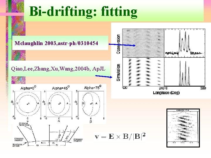 Bi-drifting: fitting Mclaughlin 2003, astr-ph/0310454 Qiao, Lee, Zhang, Xu, Wang, 2004 b, Ap. JL