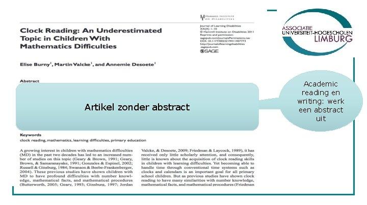 Artikel zonder abstract Academic reading en writing: werk een abstract uit