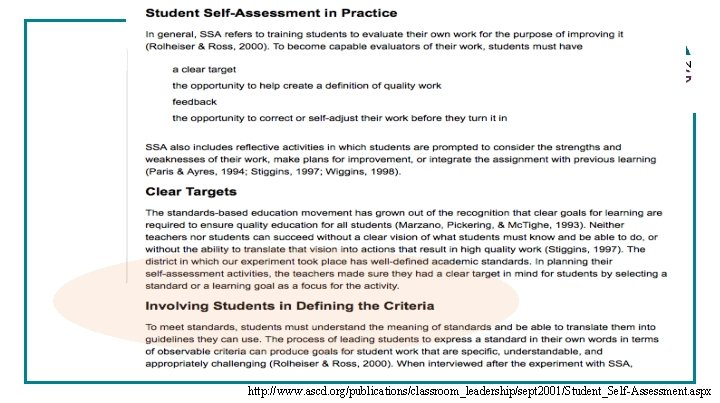http: //www. ascd. org/publications/classroom_leadership/sept 2001/Student_Self-Assessment. aspx
