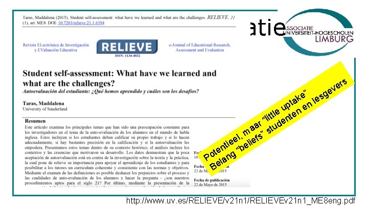 "Zelf- en peer evaluatie ers v e e"" esg k ta n l p"