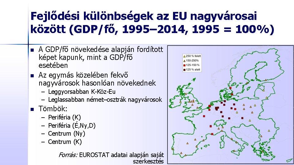Fejlődési különbségek az EU nagyvárosai között (GDP/fő, 1995– 2014, 1995 = 100%) n n