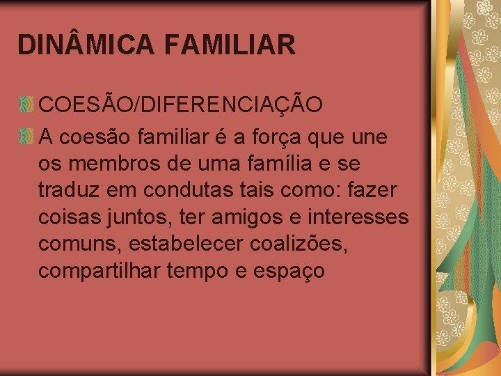 DIN MICA FAMILIAR COESÃO/DIFERENCIAÇÃO A coesão familiar é a força que une os membros