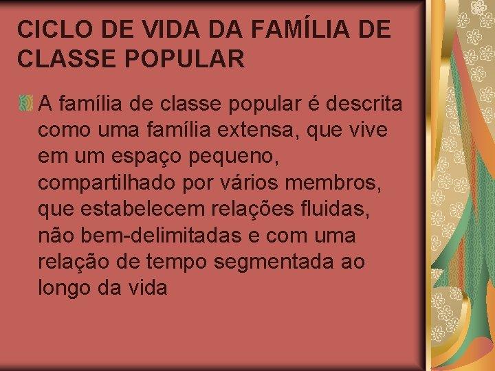 CICLO DE VIDA DA FAMÍLIA DE CLASSE POPULAR A família de classe popular é